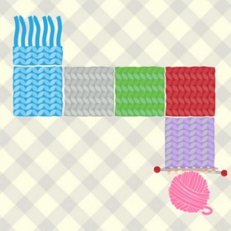 jogo de estimulação cognitiva tricotar o cachecol